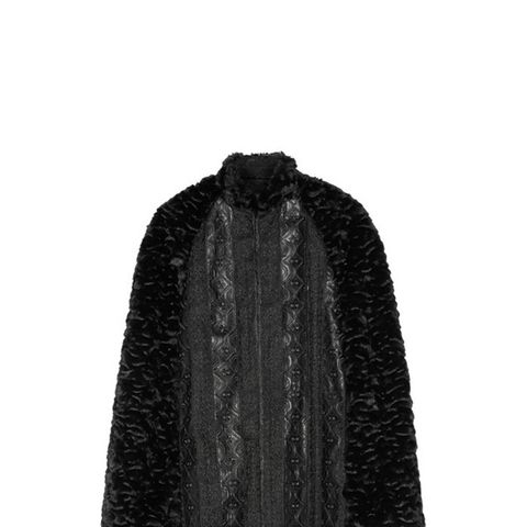 Embroidered Faux Leather-Trimmed Fur Cape