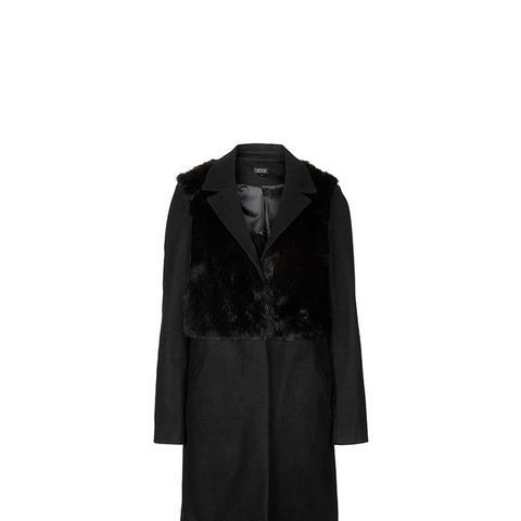 Wool Blend Faux Fur Hybrid Coat
