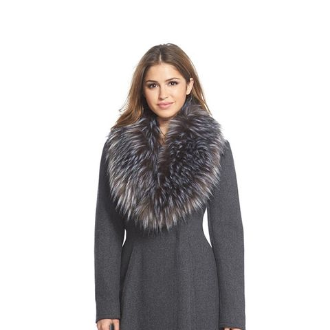 Serena Faux Fur Collar Wool Blend Fit & Flare Coat