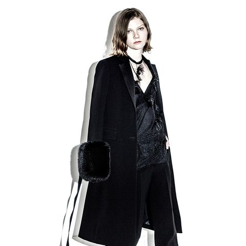 Long Tailored Knee Length Coat with Fox Cuffs