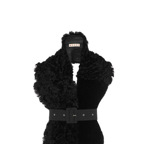 Belted Leather & Shearling Scarf