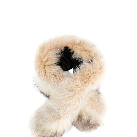 Fox/Raccoon Fur Two Tone Cross Scarf