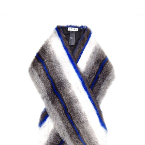 Griffin Faux Fur Stole Blue