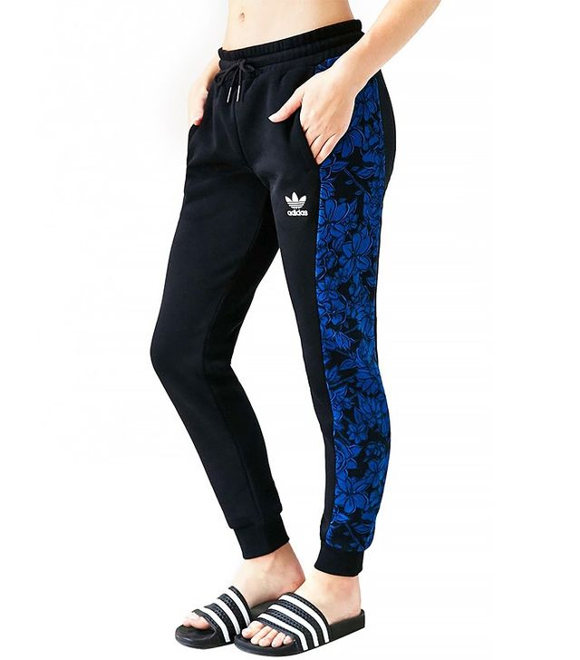 Adidas Blue Floral Cuffed Track Pants