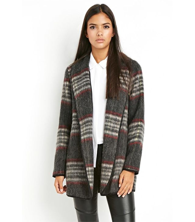 Forever 21 Contemporary Plaid Open-Front Coat