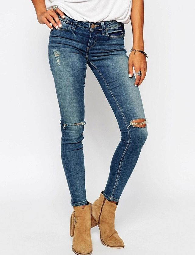ASOS Whitby Low Rise Skinny Jeans in Tyler Mid Wash With Busted Knees