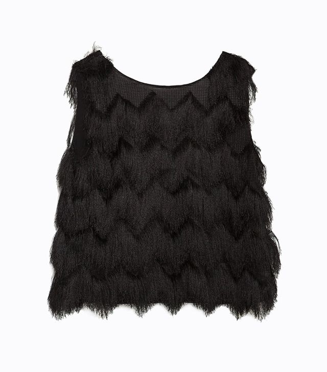 Zara Cropped Fringed Top