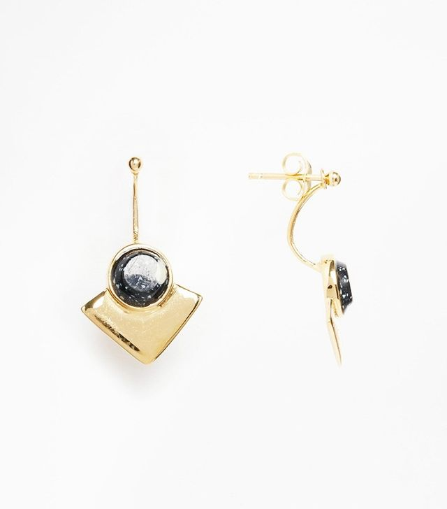 ASOS Gold Plated Sterling Silver Boho Black Stone Swing Earrings