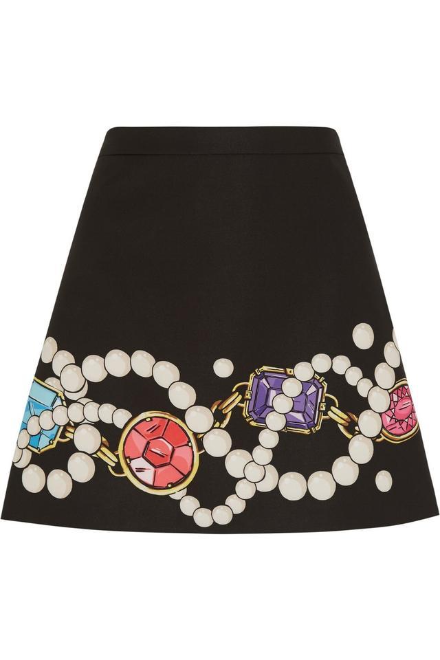 Moschino Boutique Printed Stretch-Satin Crepe Mini Skirt