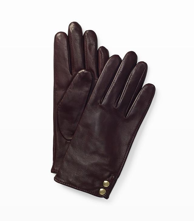Club Monaco Fia Leather Glove in Burgundy