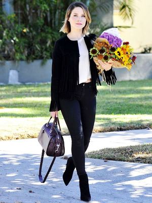 You'll Want to Wear Sophia Bush's Fringed Suede Jacket All Season