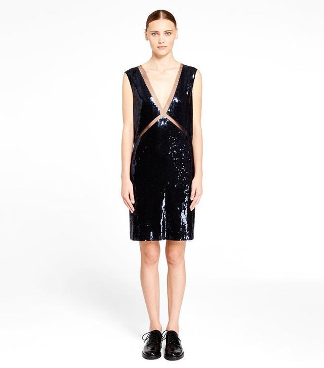 DKNY Sequin V-Neck Dress