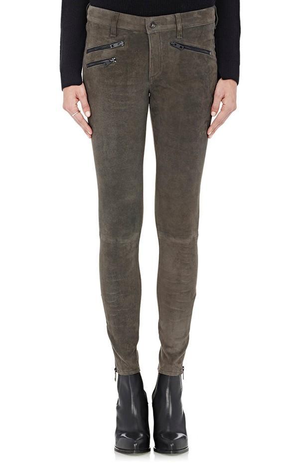 Rag & Bone Suede Mid-Rise Legging Pants