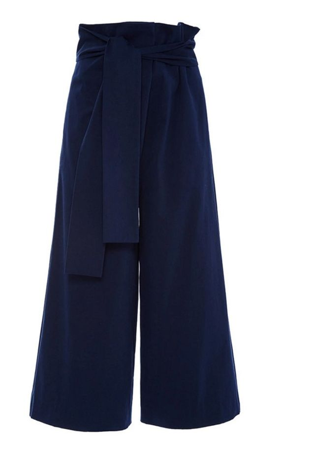 Tibi Navy Luxe Brushed Cotton Twill Pants