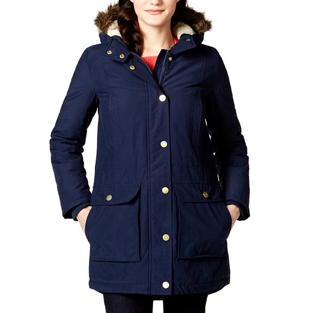Tommy Hilfiger Faux-Fur-Trim Hooded Coat