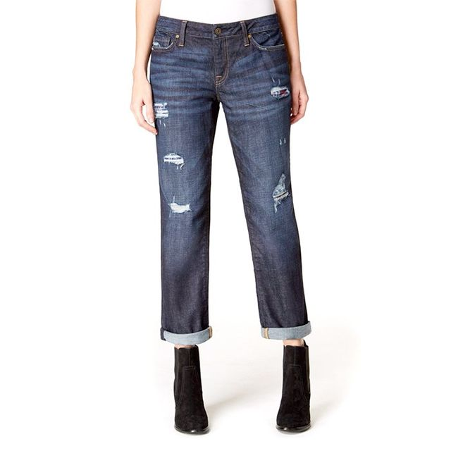 Tommy Hilfiger Ripped Flannel Inset Boyfriend Jeans