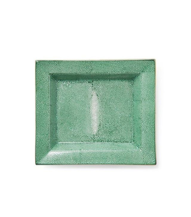 "Two's Company 8"" Shagreen Hand-Painted Tray in Green"