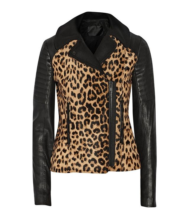 A.L.C. Lee Leopard-Print Calf Hair and Leather Biker Jacket