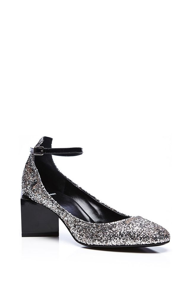 Pierre Hardy Patent Leather and Glitter Ace Square Heeled Shoes