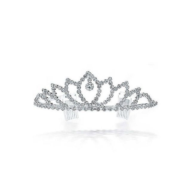 Bling Jewelry White Gold Plated Crystal Drop Crown Bridal Tiara