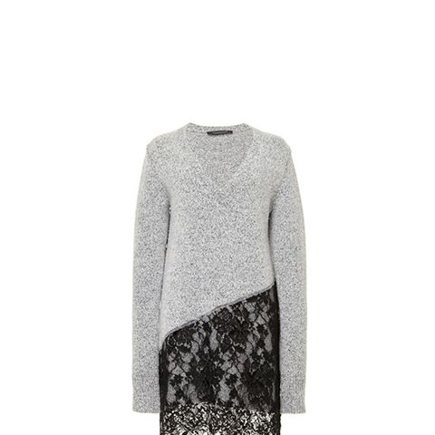 Wool Cashmere V-Neck Dress with Lace Skirt