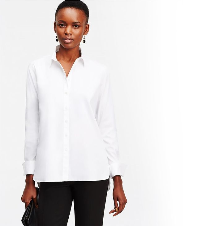 Ann Taylor Back Pleat Button-Down Shirt