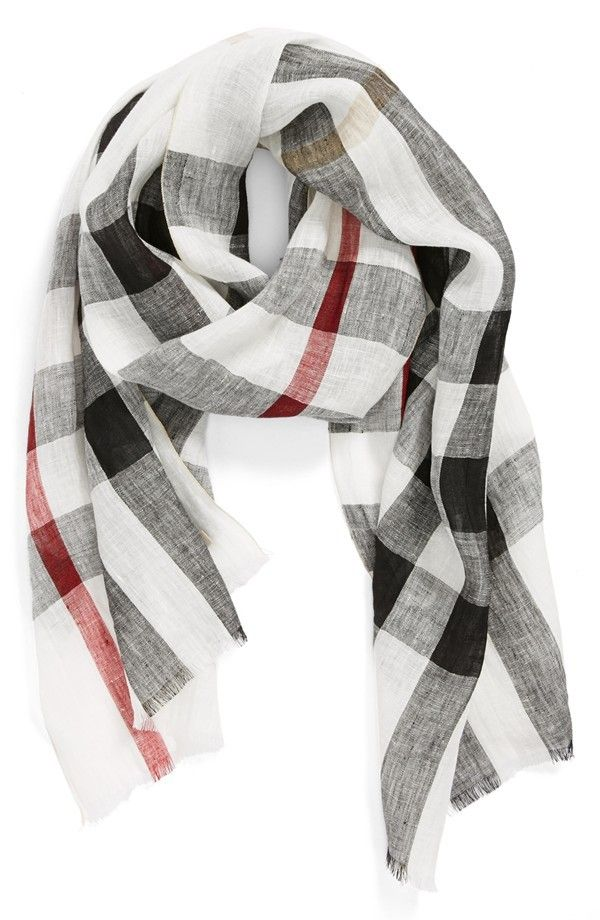 Burberry Giant Exploded Check Linen Scarf