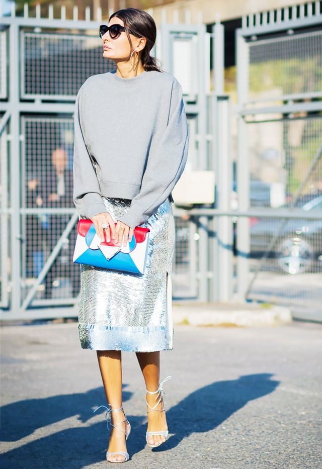 2. Sweatshirt + Sequined Skirt