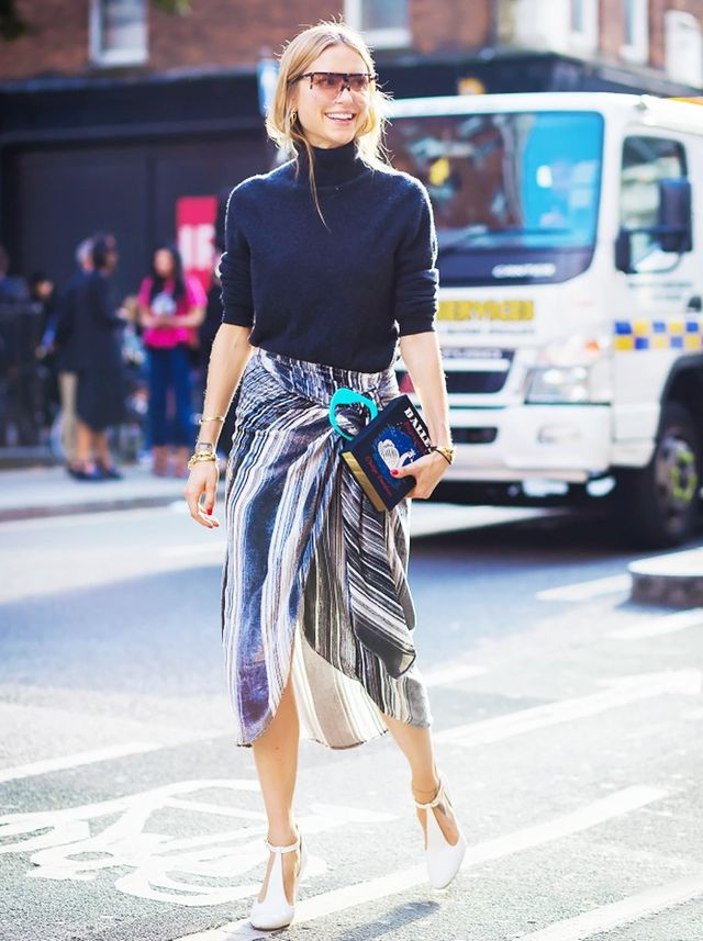5. Turtleneck + Statement Skirt