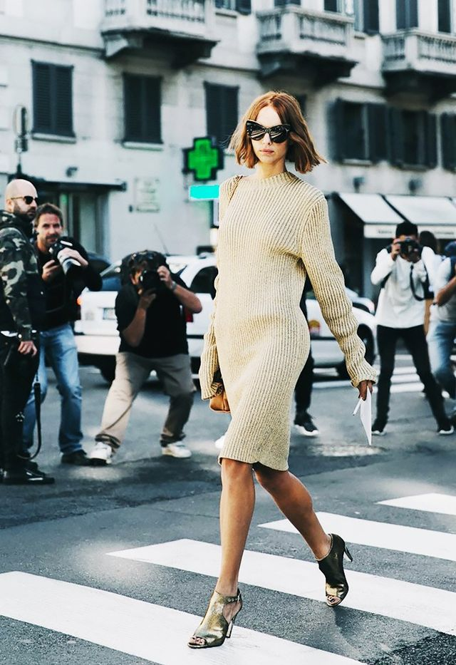 6. Sweaterdress + Metallic Heels