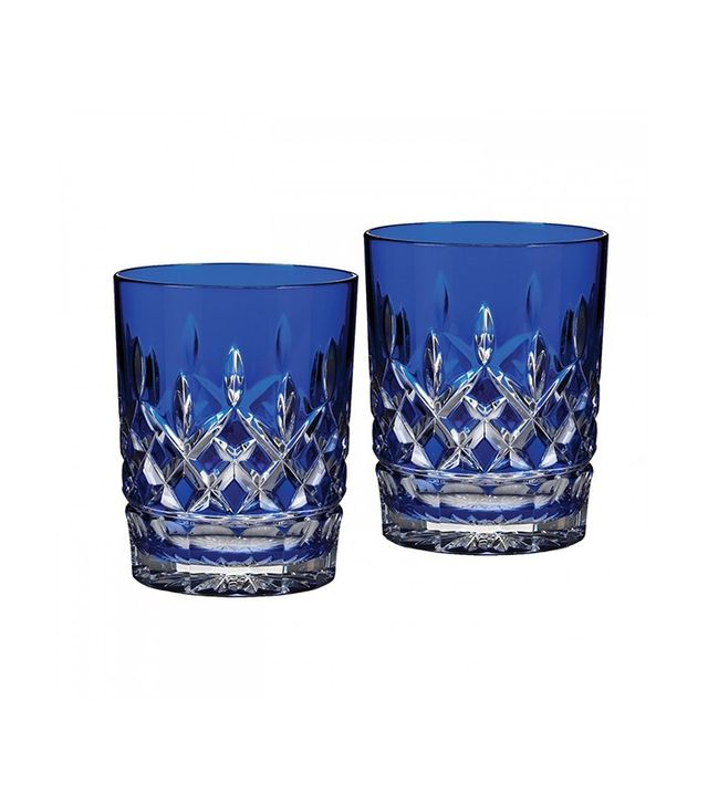 Waterford Lismore Cobalt Double Old Fashioned Glasses
