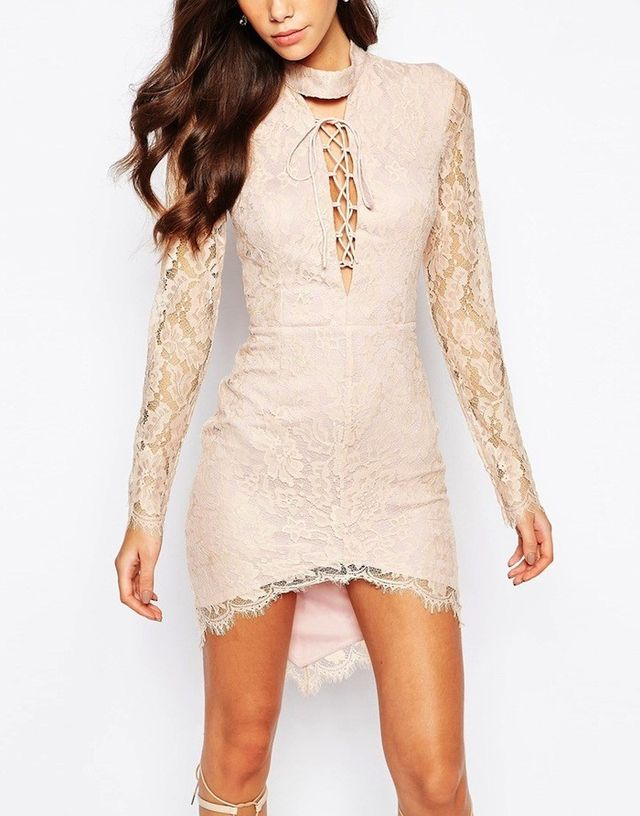 Love Triangle High Neck Lace Dress With Plunge Neck and Lace Up Detail