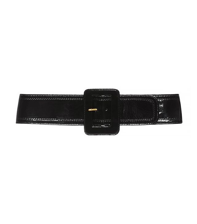 Isa Arfen Black Patent Leather Buckle Belt