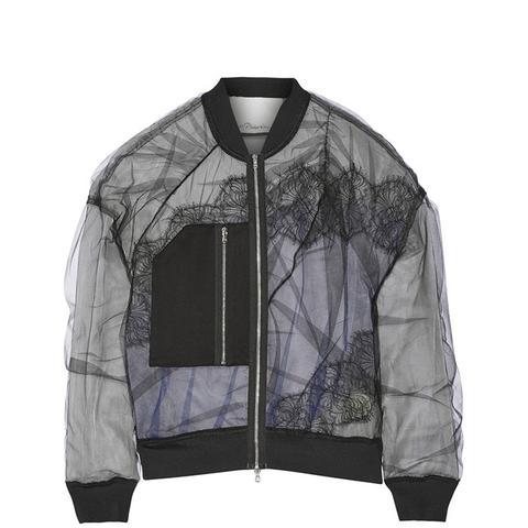 Satin and Lace-Paneled Tulle Bomber Jacket