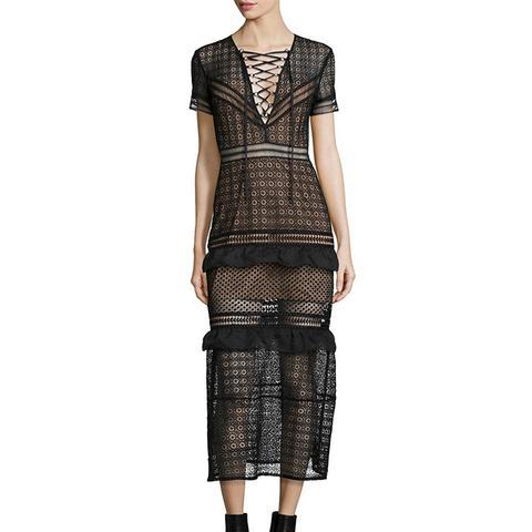 Short-Sleeve Lace-Frontn Midi Dress