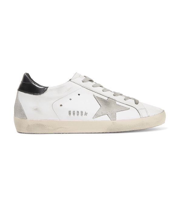 Super Star Distressed Leather And Suede Sneakers