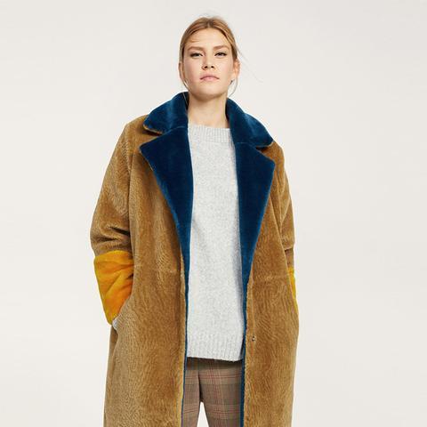 Tricolor Faux Fur Coat