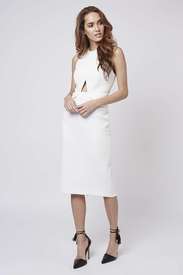 Topshop Keyhole Cutout Midi Dress