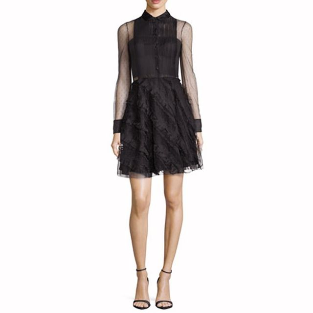 RED Valentino Point D'Esprit Long-Sleeve Ruffled Dress