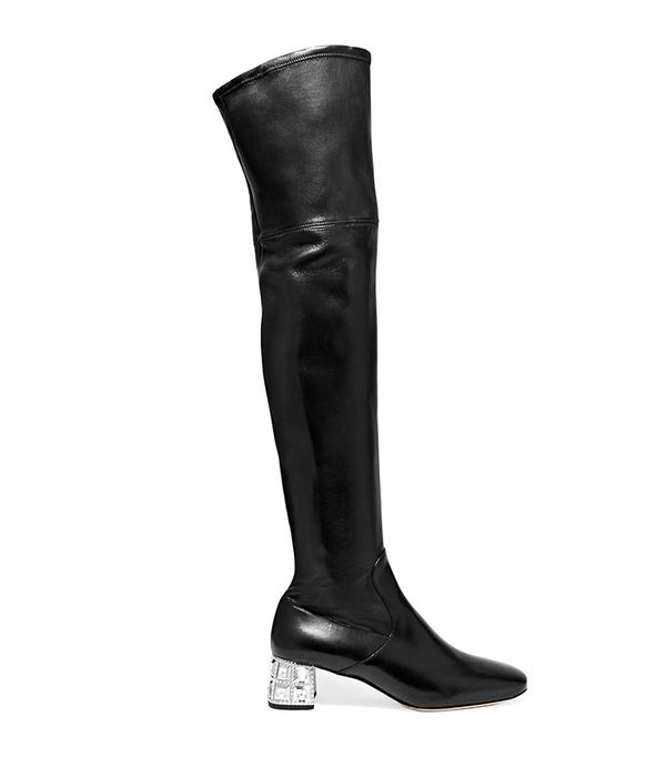 Crystal-embellished Leather Over-the-knee Boots