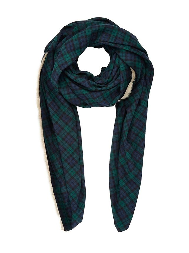 Donni Charm Fur-Stripe Twill Scarf