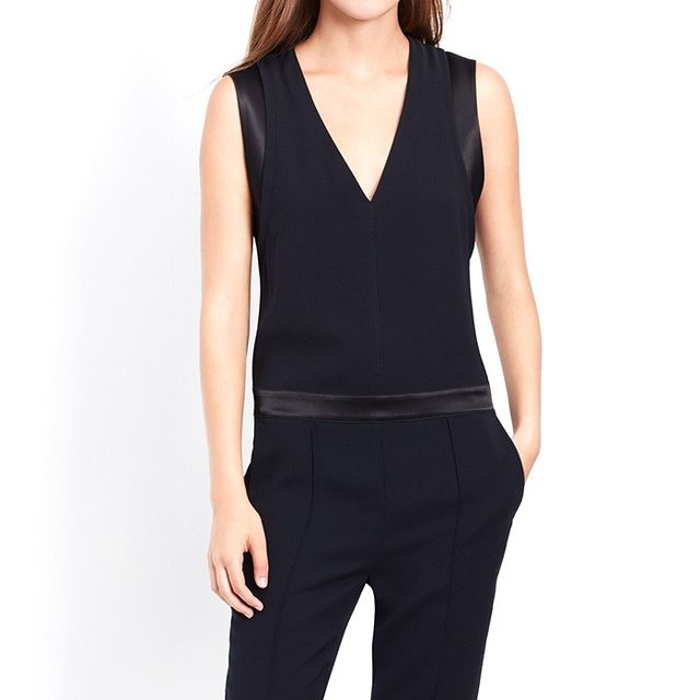 VINCE. Mixed Media Sleeveless Pintuck Jumpsuit