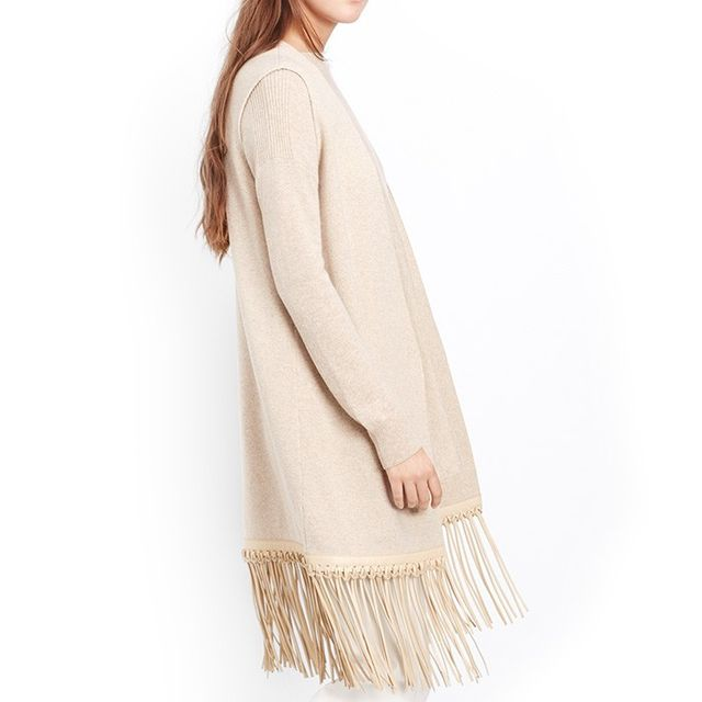 VINCE. Luxe Wool Cashmere Vest With Leather Fringe