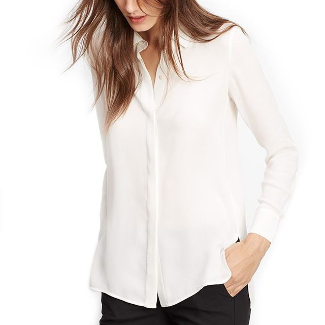 VINCE. Classic Silk Long Sleeve Button Up