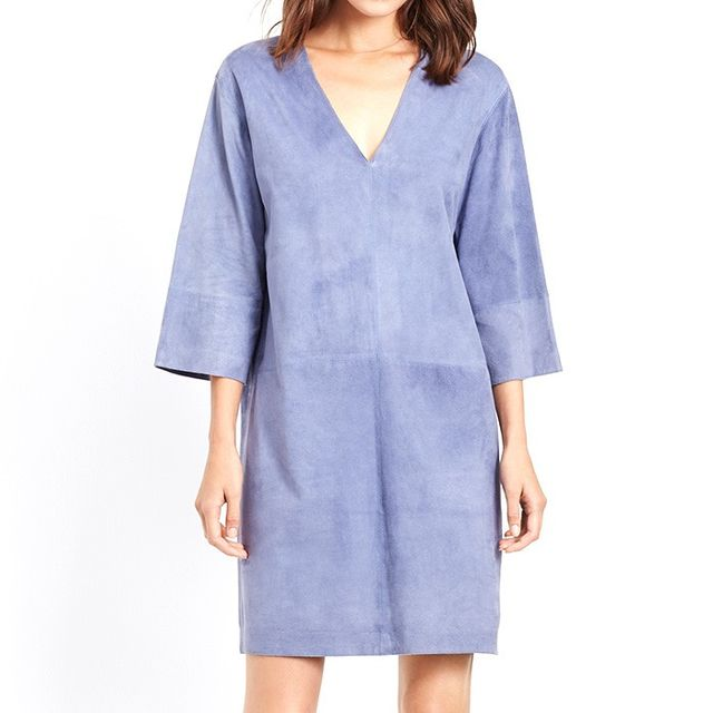 VINCE. Suede Three Quarter Sleeve Shift Dress