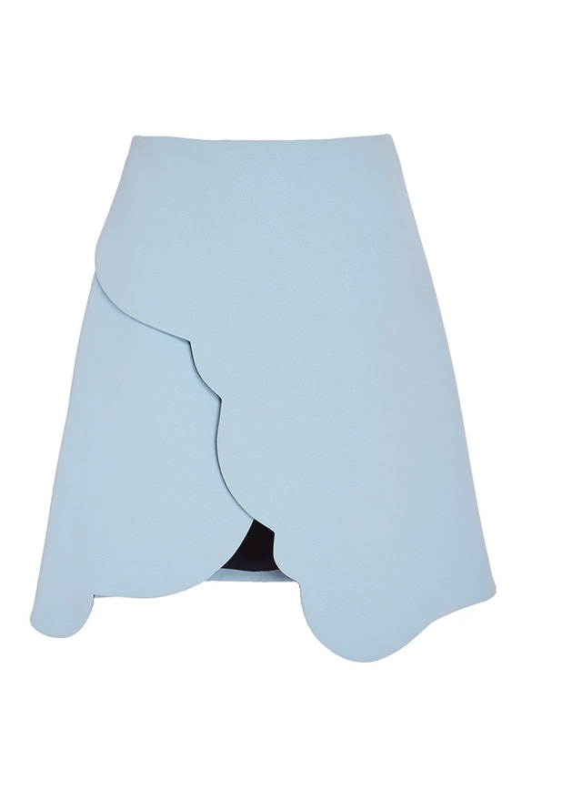 Carven Scallop Edged Double Crepe Skirt