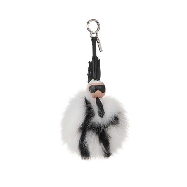 Fendi Pompom Karl Genuine Fox Fur & Leather Bag Charm