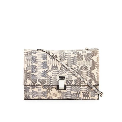 Small Snakeskin Lunch Bag-on-a-Strap, Neutral