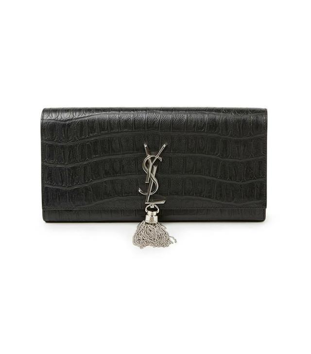 Saint Laurent Monogram Crocodile-Embossed Leather Tassel Clutch