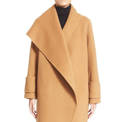Drape Front Wool Coat